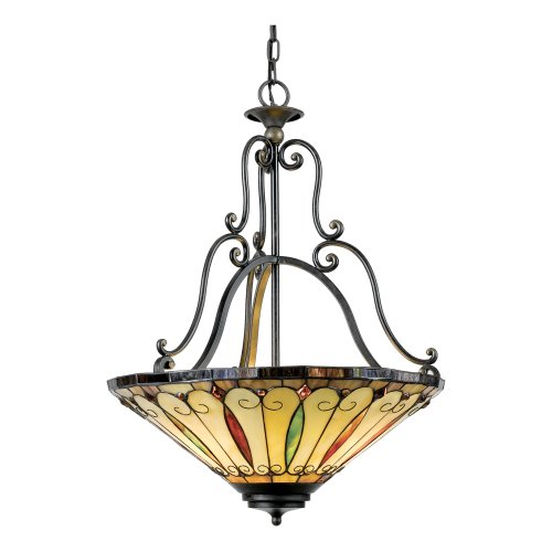 B000UNMHDK Quoizel TF1039IB Tiffany 27-Inch Pendant with Three Uplights, Gold Tint Finish