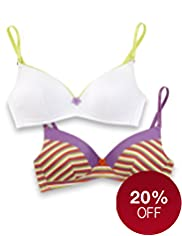 2 Pack Angel Cotton Rich Striped Non-Wired AA-C Bras