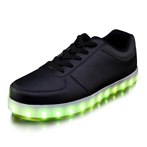 KaLeido Unisex USB Charging 7 Colors LED Sport Shoes Flashing Fashion Sneakers Light Up Sport Shoes (6.5 B(M) US Women/4.5 D(M) US Men, Black)