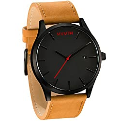 MVMT Watches Black Face with Tan Leather Strap Men's Watch by MVMT Watches