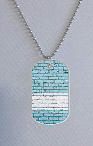 Blue Wall B Custom Fashion Dog Tag Necklace Aluminum Tag For Cats Tag Animal Pets Tag 1.2X2 Inches (One Side Image) New