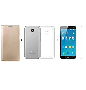 ZYNK CASE FLIP COVER GOLD+TRANSPARENT BACK COVER+ TEMPERED GLASS FOR MEIZU M3 NOTE