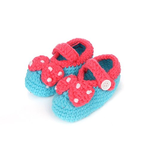 Soyagift Newborn baby knitted strawberry with Buckle wool soft-soled shooes