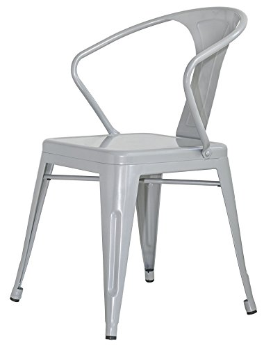 Merax Stackable Metal Dining Chairs Vintage Outdoor Side Back Chairs with Arms, Grey, Set of 2 2