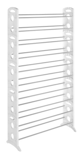 Whitmor 6486-1917-WHT Floor Shoe Tower, White, 50-Pair