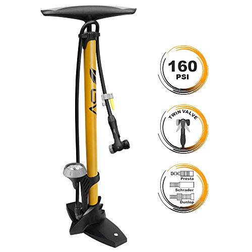 BV Bicycle Ergonomic Bike Floor Pump with Gauge & Smart Valve Head, 160 psi, Automatically Reversible Presta and Schrader (High Pressure Bike Pump compare prices)