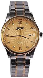 Skmei Date Analog Gold Dial Mens Watch - (HMWA05S064C0)
