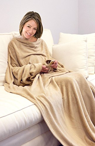 Napa Soft Microplush Fleece Blanket with Sleeves Adult Throw Robe for Lounge Couch or Bed - Retail Packaging - Latte
