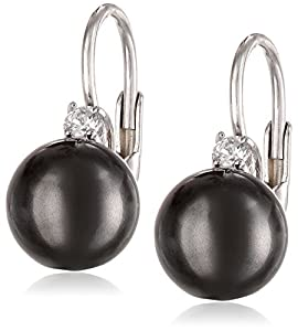 Sterling Silver 8mm Black Shell Pearl and Cubic Zirconia Lever Back Earrings