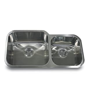 Nantucket Sinks NS12-16 33-Inch  60/40 Double Bowl Undermount Stainless Steel Kitchen Sink