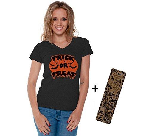 Women's Halloween Shirt Trick Or Treat V-neck T-shirt Bats Costume + Bookmark M Black (Hocus Pocus Costume Shop)
