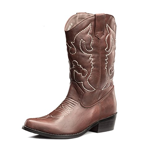 SheSole Womens Embroidered Western Cowboy Cowgirl Mid-Calf Wedding Boots Brown US 7