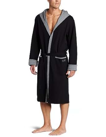 BOSS HUGO BOSS Men's Hooded Robe, Black, Medium