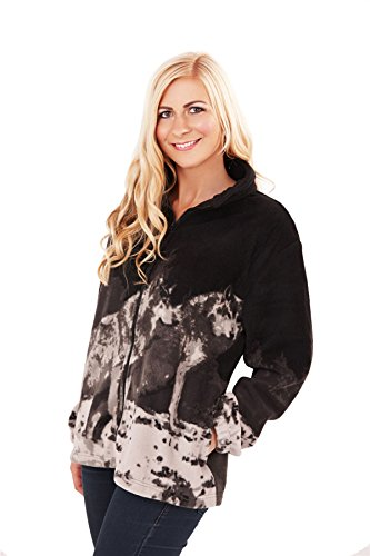 Bruno Galli, Ladies Animal Design Zip Up Fleece Jacket, Black Wolf, Large
