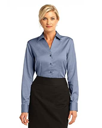 Red house rh63 ladies fitted non iron pinpoint oxford for Womens button down shirts fitted