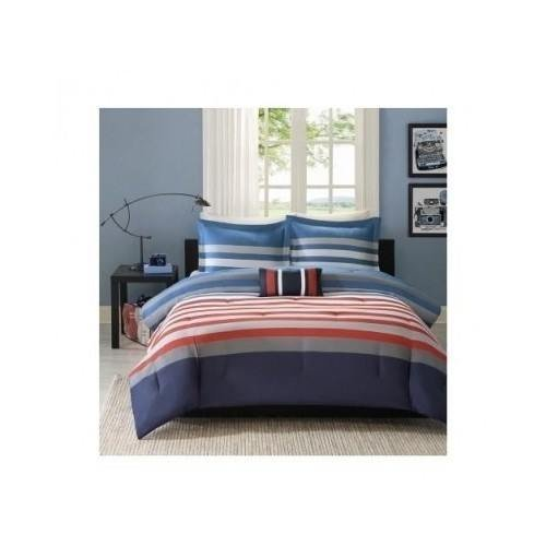 Reversible Kids Teen Boys Red Blue White Stripes Comforter Bedding Set (Twin/twin Xl) Mouse Pad Included