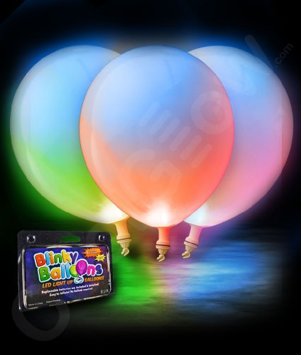 Fun Central AH946 LED Light Up 14 Inch Blinky Balloons - Multicolor