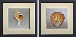 King Silk Art 100% Handmade Embroidery Mixed Group Seahorse Murex Sundial Seashell Chinese Wildlife Landscape Painting Gifts Oriental Asian Wall Art Decoration Artwork Hanging Picture Gallery 38021WF+38024WF