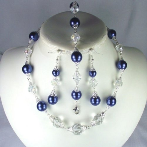 Angelic clear crystal and Navy pearl matching wedding jewelry set