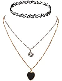 Zephyrr Fashion Retro Gothic Lace Metallic Chain Choker Necklace For Girls.