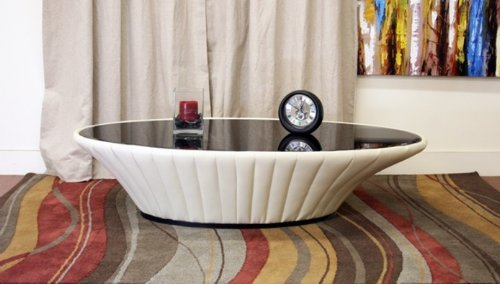 Oval Coffee Table with Black Glass Top in Cream Leather