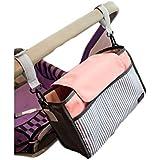 ISuperb® Stroller Organizer Bag Stroller Accessories Baby Diaper Stroller Bag Buggy Organiser Storage (Pink Strip)