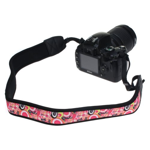 Birugear Pink Flower Soft Anti-Slip Neoprene Camera Shoulder/Neck Strap For Canon Sx510 Hs Sx50 Hs Sx500 Is Sx40 Hs Sx30 Is G15, Nikon P7800 P520 P510 L820 L810 L120 And More Slr Digital Camera With Cleaning Cloth