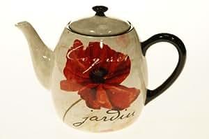 Certified International Midnight Poppies Teapot, 40-Ounce