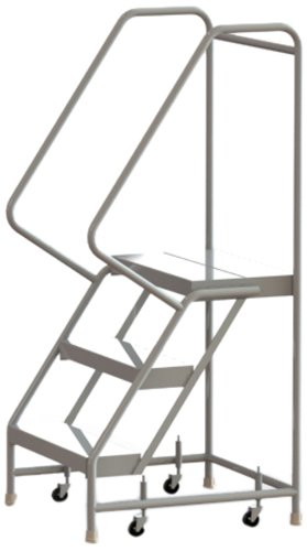 Tri-Arc WLAR103244 3-Step All-Welded Aluminum Rolling Industrial & Warehouse Ladder with Handrail, Ribbed Tread, 24-Inch Wide Steps