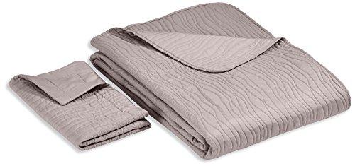 Linder 5015 /91/835/180 Mikado - Juego de colcha y 1 funda de almohada (poliéster, 240 x 180 cm), color gris