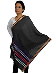 Scarf Women Accessory Indian Contemporary Striped Pattern Wool Silk Blend