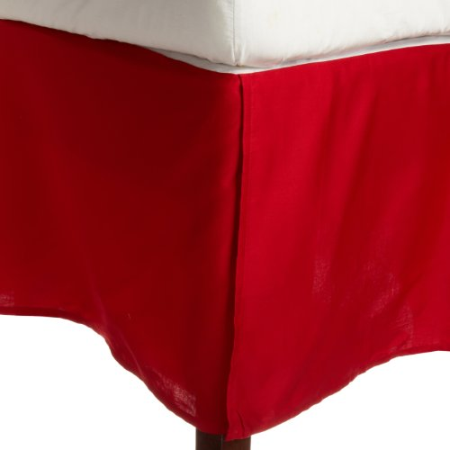 Impressions Genuine Egyptian Cotton 300 Thread Count Pleated Queen Bed Skirt Solid, Red back-882845