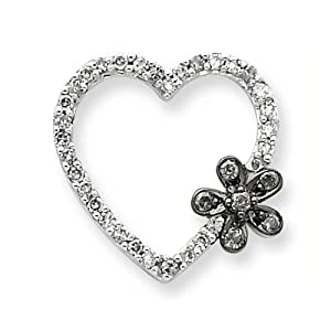 IceCarats Designer Jewelry Sterling Silver Black White Diamond Heart Pendant