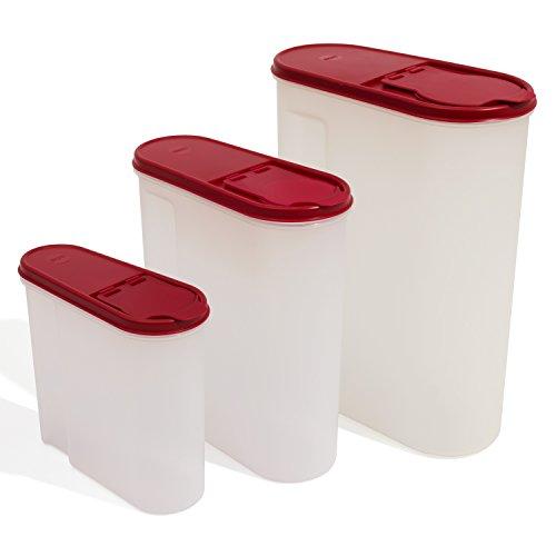 Lot de 3 boites a cereales: 1.25L + 2.6L + 5L, en rouge