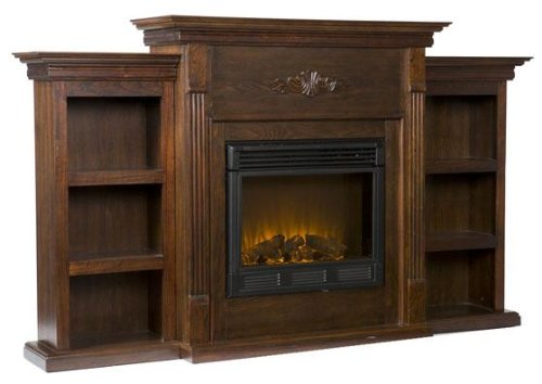 Electric Fireplace with Bookcases, Espresso