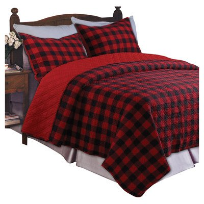 Western Plaid Quilt Set Size: Twin, Color: Red