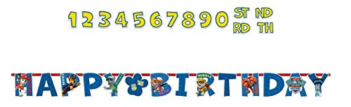 Amscan Amazing Paw Patrol Birthday Party Jumbo Add-An-Age Letter Banner (1 Piece), Blue, 10 1/2' x 10""
