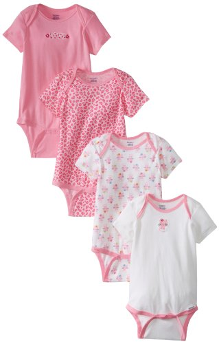 Gerber Baby-Girls Infant Cat 4 Pack Variety Onesies Brand, Pink/White, 12 Months front-1024660
