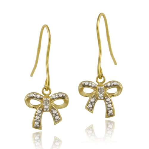 18K Gold over Sterling Silver Diamond Accent Bow Dangle Earrings