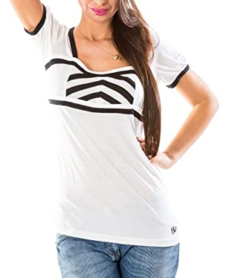 Byblos Women's Short Sleeve Top B2L60430 V96 Black And White Size 52