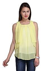 New Sierra women lemon regular lear front plits georgette top