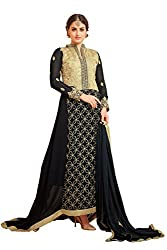 YOUR CHOICE Georgette Black Embroideried Women's Gown HTS1007