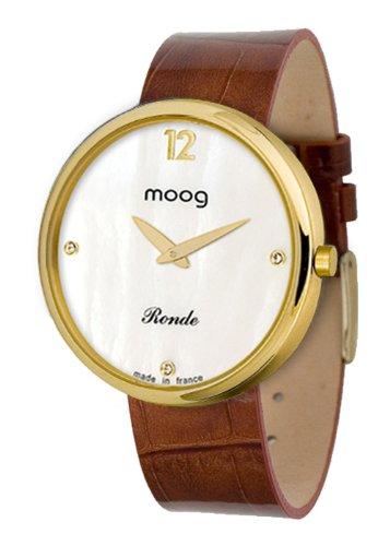 Moog Women's Watch Time to Change M41671-018 Analogue Quartz Nacre Dial Varnished Calfskin Leather Strap Alligator Brown