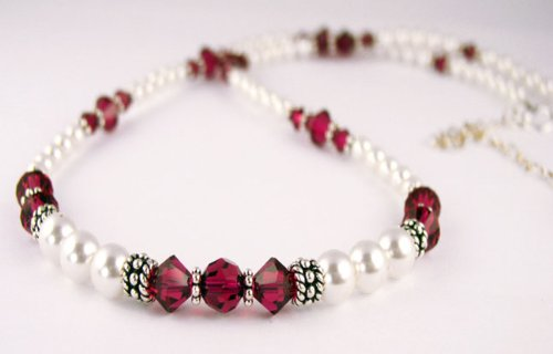July Ruby Beaded Swarovski Crystal Freshwater Pearl Birthstone Necklace in Sterling Silver - SMALL 16 In..