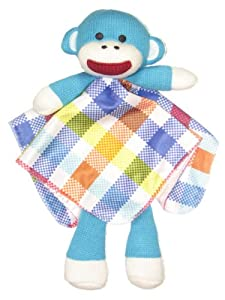 Blue Plaid Sock Monkey Snuggle Buddy Rattle by Baby Starters