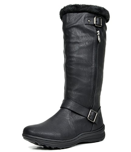 DREAM PAIRS RABBIT Women's Lady Winter Fully Fur Lined Double Buckle Ruched Snow Knee High Boots BLACK PU-SZ-7