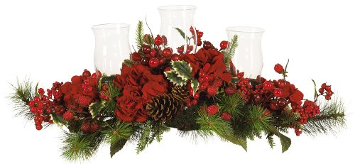 Nearly Natural 4659 Hydrangea Holiday Candleabrum, Red/Green (Holiday Table Centerpieces compare prices)