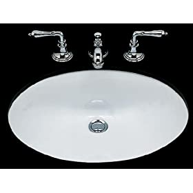Bates and Bates DOREEN-BI Doreen Oval Under Counter Lavatory Sink, Biscuit