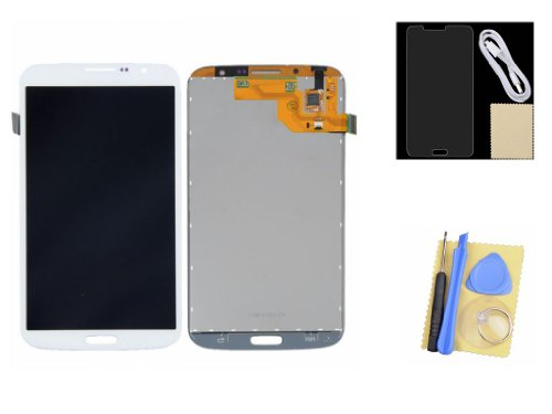 White Lcd Touch Screen Digitizer Assembly +Protector+Usb Cable For Samsung Galaxy Mega 6.3 I9200 I9205