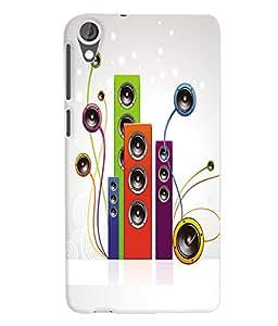 Fuson 3D Printed Music wallpaper Designer Back Case Cover for HTC Desire 820 - D693